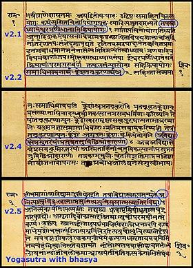 280px-yogasutra_with_patanjalis_bhasya_sanskrit_devanagari_script_random_sample_pages_f1v_f2r_f3v